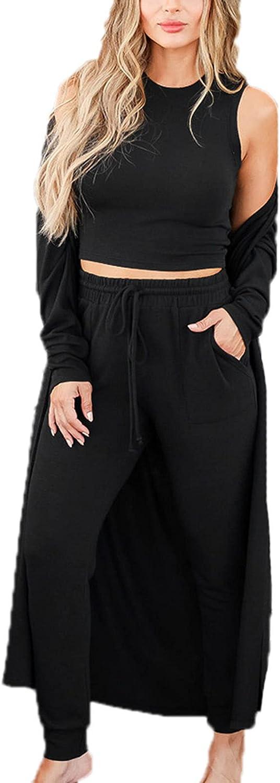 Women's 3 Piece Casual Suit Vest Trousers Long Cardigan Nightwear Set