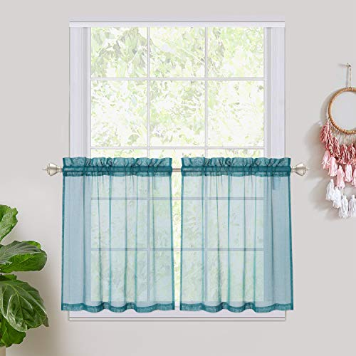 """Haperlare Teal Sheer Tier Curtains for Small Window - Linen Look Textured Privacy Semi Sheer Drapes for Kitchen/Cafe,Rod Pocket Voile Curtain Panels Draperies - 27"""" W x 24"""" L, Teal, Set of 2"""