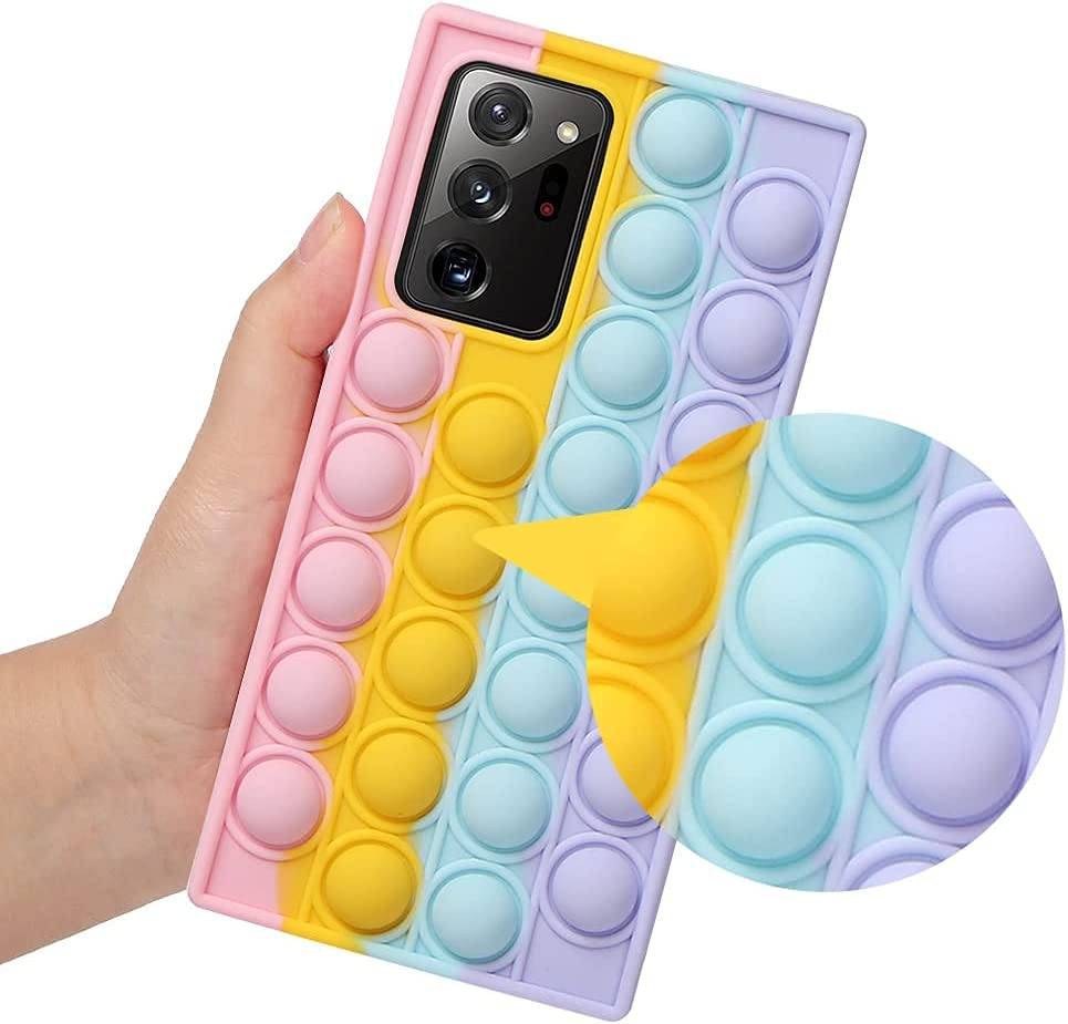 Leencum Phone Case,Push pop pop Bubble Fidget Toys Protecive Case, Silicone Soft Case Compatible Samsung Galaxy Note 20 Ultra