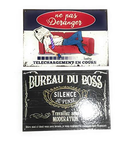 udc Lire et Dire - Set met 2 platen in vintage-stijl, van karton, bureau van de Boss en niet deranger - 27 x 39 cm