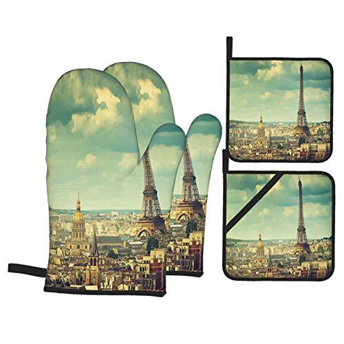 Juego de 4 Guantes y Porta ollas para Horno Resistentes al Calor Torre Eiffel París Francia para Hornear en la Cocina,microondas,Barbacoa