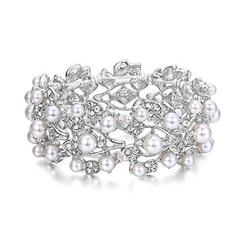 EVER FAITH Silver-Tone Crystal Cream Simulated Pearl 1920's Style Leaf Stretch Bracelet Clear