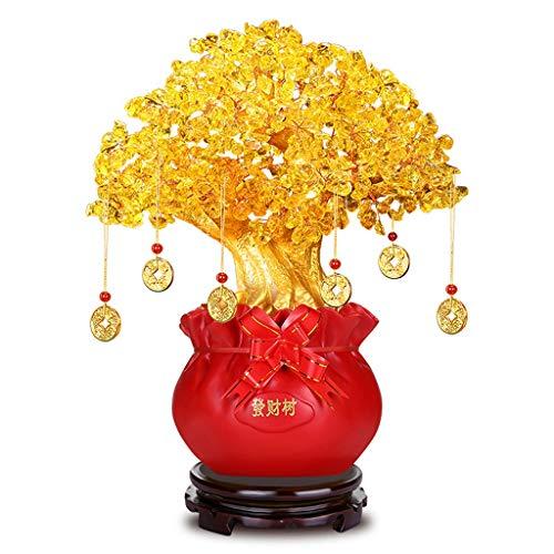 Ornamento de Escritorio Decoración citrino fortuna ornamento de la sala de estar Equipamiento del hogar Feng Shui del árbol del dinero moneda de oro de la Fortuna Bolsa Pot Feng Shui Bonsai artesanías