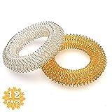 12 Stücke Finger Massage Ring, Akupressur Ringe, für Jugendliche, Erwachsene, Leise Stress Reduzierer und Massager (6 Silber + 6 Gold)