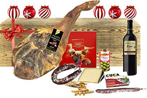 Lotes, Cestas y Regalos, Cesta de Navidad con Jamón Lote Gourmet con Paleta Serrana, Chorizo, Queso, Sardinas, Aceitunas, Fuet, Vino, Bombones y Picos de Pan.