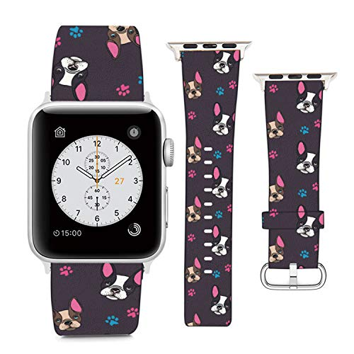 Compatible with Apple Watch Wristband 42mm 44mm, (French Bulldog On Floral Pattern) PU Leather Band Replacement Strap for iWatch Series 5 4 3 2 1