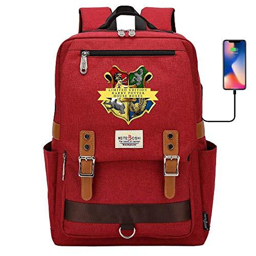 Hogwarts College Mochila Casual, Harry Potter Laptop School Bag, Moda Travel Rucksack, cargue convenientemente su teléfono 16.5 * 11.8 * 6.3 Pulgadas Rojo