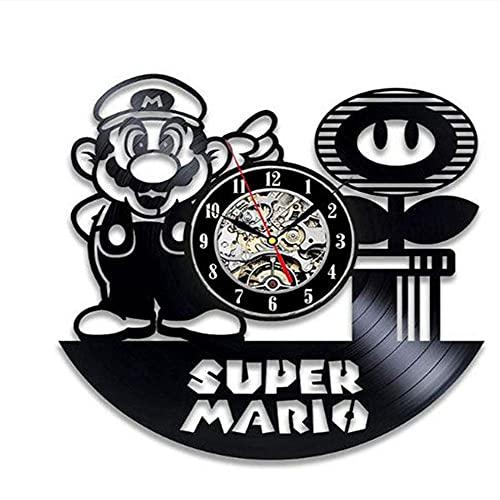 Super Mario Game Vinyl Record Wall Clock Modern Design Play Room Sala 3D Reloj de la Pared Reloj de Pared Arte Decoración para el hogar Regalos para niños-Estilo 8 no con luz