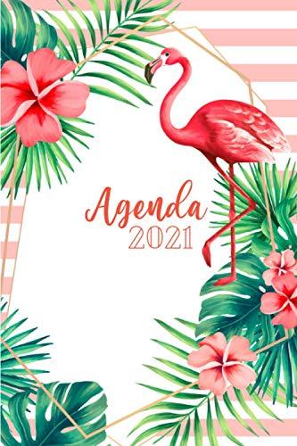 Planificateur 2021: Agenda 2021 Semainier Professionnel ou Personnel - Organiseur Hebdomadaire   Tropical, Flamants Roses & Fleurs