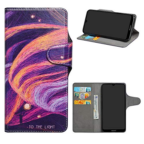 HHDY Compatible Huawei Y6 2019 Leder hulle Painted Muster Wallet Handyhulle mit KartenfacherStandfunktion Case Cover fur Huawei Y6 2019 Y6 Prime 2019 Huawei Honor 8ABrilliant Purple