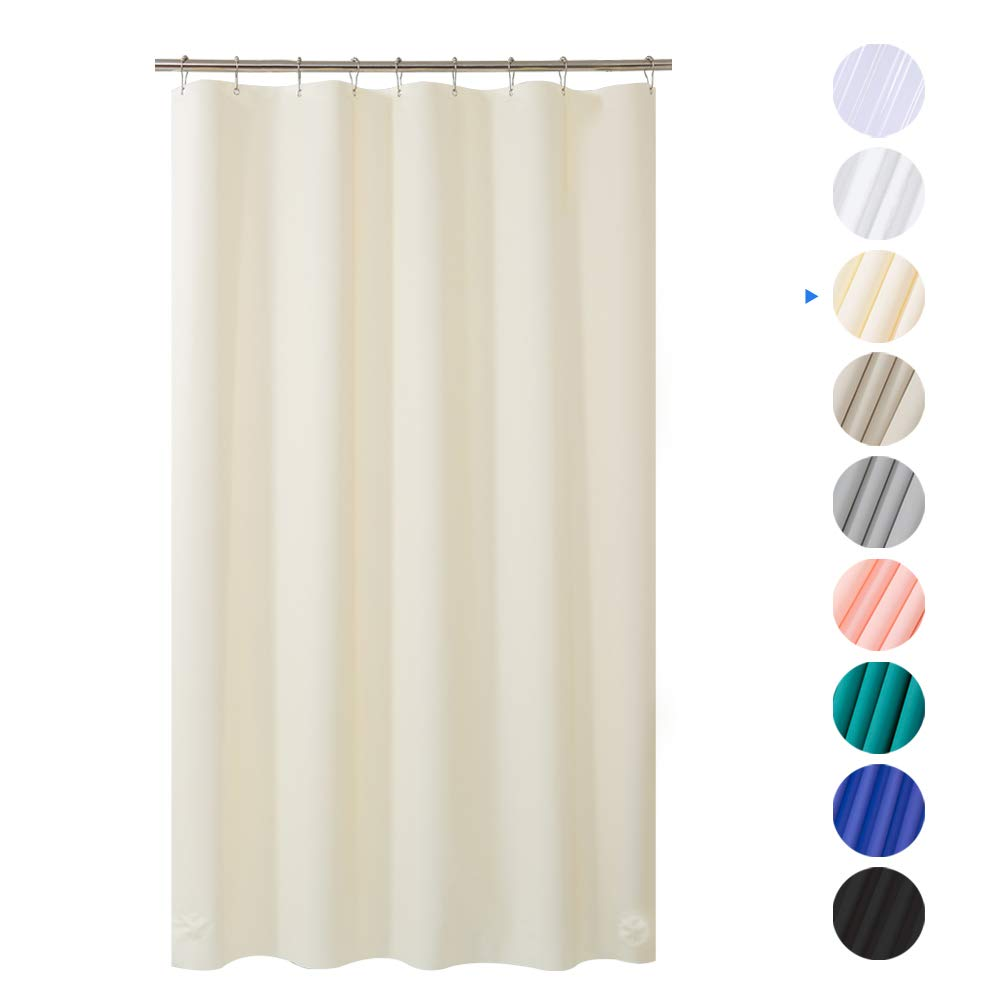 AmazerBath Plastic Shower Curtain, 54 W x 78 H Beige EVA 8G Thick Bathroom Plastic Shower Curtains No Chemical Odor with Heavy Duty Clear Stones and Rust-Resistant Grommet Holes