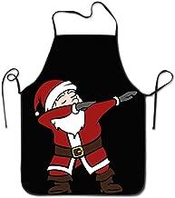 Christmas Dabbing Santa Lock Edge Waterproof Durable String Adjustable Easy Care Cooking Apron Kitchen Apron For Women Men Chef
