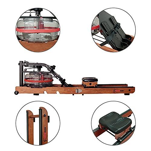 Fitifito WR19 Rudergerät Wasserrudergerät, 170kg maximales Benutzergewicht, 17l Wassertank, Widerstandseinstellung durch Wassertank-Regulierung, 120 cm Aluminiumgleitschiene, LCD-Display (Esche) - 6