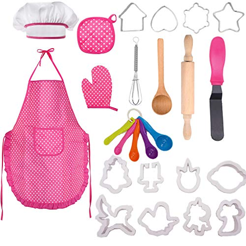 Oven Glove and Utensils for Kids Ages 3+ AlgaMarina Child/'s Chef Set Complete Kids Cooking and Baking Set Chef Role Pretend Play Costume Chef Outfit 21 Pcs Includes Apron Chef Hat