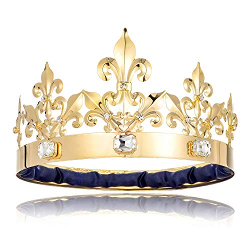 BROSWJUN King Crown Adult Men Birthday King Crowns Costume Prom King Crown Wedding Bridal King...