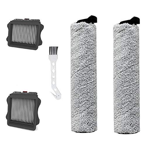 Huante - 2 cepillos de rodillo + 2 filtros + 1 kit de cepillo de limpieza para Tineco IFloor inalámbrico Floor One S3 para aspiradoras secas y húmedas Assy