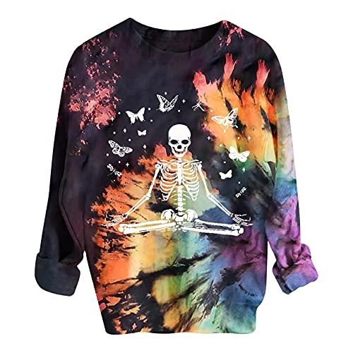Wave166 Sudaderas para mujer con camisetas estampadas, disfraz de Halloween, con estampado tie-dye de manga larga, cuello redondo, ropa callejera, carnaval, fiestas, otoño, 3-multicolor, XL