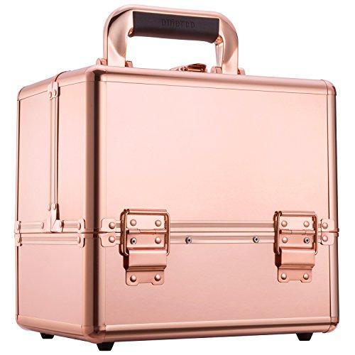 Ollieroo Makeup Train Case Rose Gold 9.8' Aluminum Makeup Cosmetic Artist Organizer with Lock Rose Gold Makeup Case Makeup Trunk Caboodles Cases