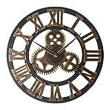 KX&VV Orologio da Parete con Grandi Numeri Romani Orologio da Parete Legno Home Wall Clock Vintage Decor, Orologio da Parete Silenzioso Gold 45cm