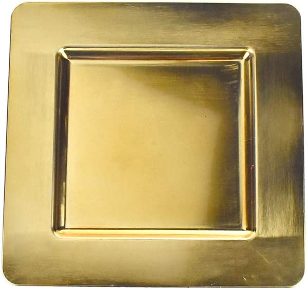 Homeford Plastic Square Charger Super intense SALE Plate Gold Seasonal Wrap Introduction 13-Inch