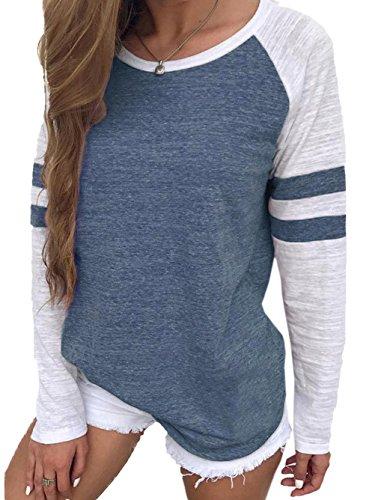 FamulilyDamen Streifen Langarmshirt Tops Elegant Lose Baseball T-Shirt Sweatshirt Bluse, Blau , 40