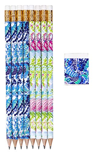 Lilly Pulitzer Assorted Wooden Pencil and Eraser Set, Desk Supplies Set Includes 8 Graphite Pencils, Wave After Wave/Floridita