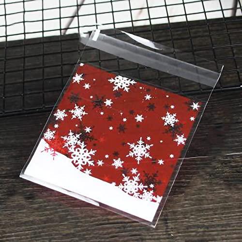 【BEAUTY PLAYER】クリスマス ラッピング袋 ギフトバッグ かわいい 100枚 10*11cm ラッピングバッグ 個包装 粘着テープ付き 半透明袋 おしゃれ プレゼント ベーキング包装用袋 手作りお菓子 お菓子用袋 小分け 製菓用品 (スノーフレ