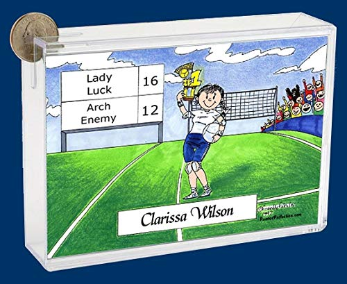 Personalized Friendly Folks Cartoon Caricature Bank: Volleyball Player – Female