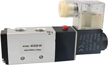 BestTong Pneumatic Air Control Solenoid Valve 4V210-08 DC 12V 5 Way 2 Position PT1/4 Inch Internally Piloted Acting Type Single Electrical Control