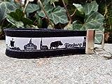 Schlüsselanhänger Schlüsselband Wollfilz schwarz Webband Skyline Lüneburg weiß schwarz...