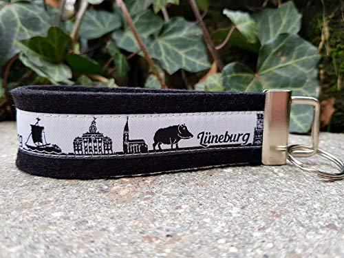 Schlüsselanhänger Schlüsselband Wollfilz schwarz Webband Skyline Lüneburg weiß schwarz Geschenk!