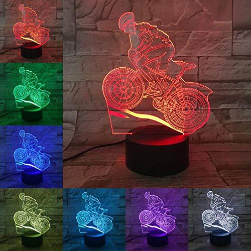 Sanzangtang Led-nachtlampje, 3D-visionzeven, kleuren-afstandsbediening, mountainbike, racefiets, nachtlampje, lava-verlichting, mannenmaanlicht, nachtlampje