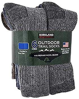 Kirkland Signature Outdoor Trail Socks Merino Wool Blend 6 Pairs Large