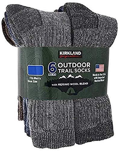 Kirkland Signature Outdoor Trail Socks Merino Wool Blend, 6 Pairs, Large