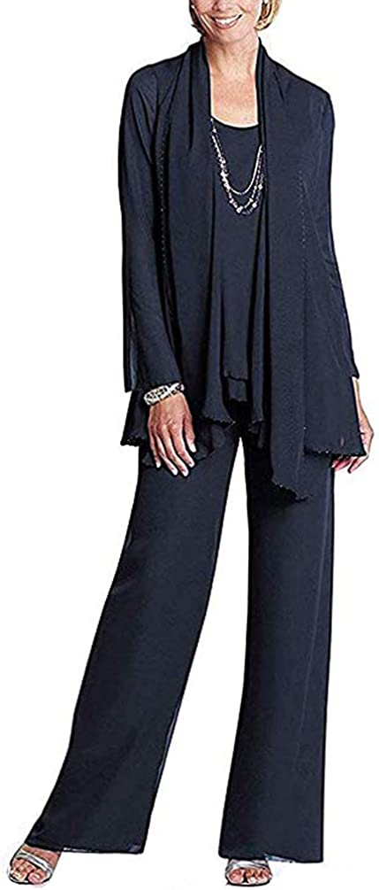 Yulain Women's Pant Suits 3 Pieces With Jacket Mother Of The Bride Dress