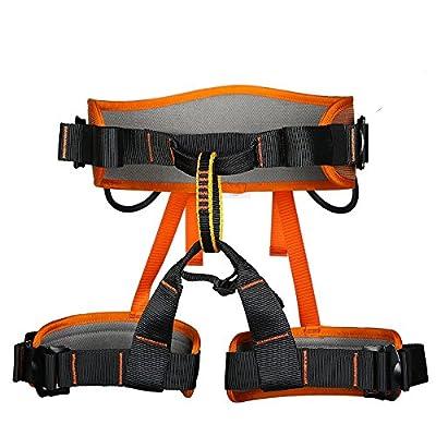 kissloves Half Body Rock Climbing Harness Outdoor Safe Seat Belt Momentum Harness for Mountaineering,Rock Climbing,Fire Rescue (Orange)