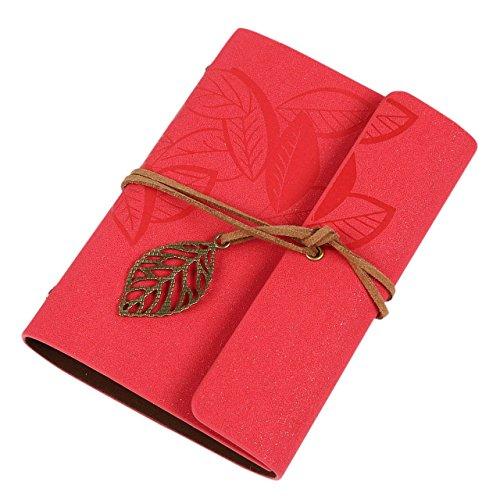 Demarkt–Retro Cuaderno Diario Cuaderno Bloc De Notas Diario de viaje (Rose Rojo 160páginas 19* 12.5cm