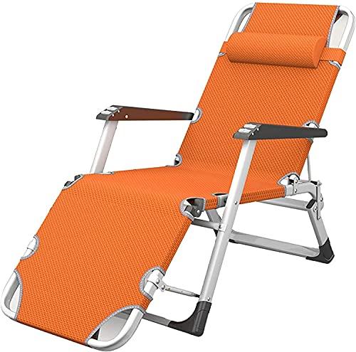 Chaise Lounge Transpirable Zero Gravity con Almohada, Silla Plegable Ajustable Tumbona de Patio Tumbona de Oficina Cama para Dormir Cama de acompañante Simple