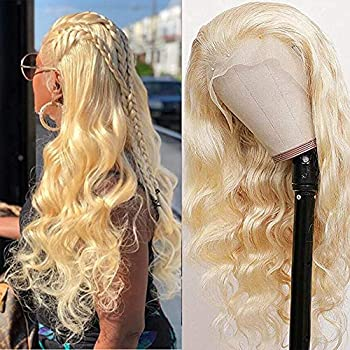 613 Blonde Lace Front Wig Human Hair Pre Plucked Bleached Knots 24  Brazilian Body Wave Human Hair Wigs for Black Women 150% Density Blonde Lace Frontal Wig with Baby Hair