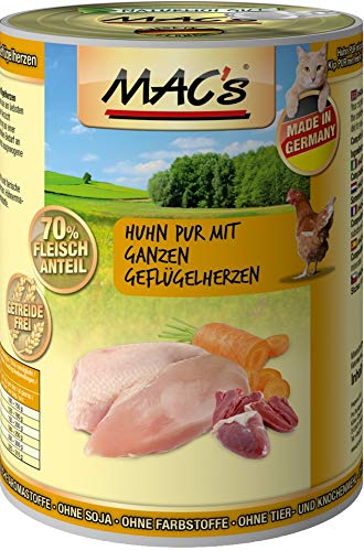Mac's Katzenfutter getreidefrei Huhn mit ganzen Geflügelherzen, 400 g