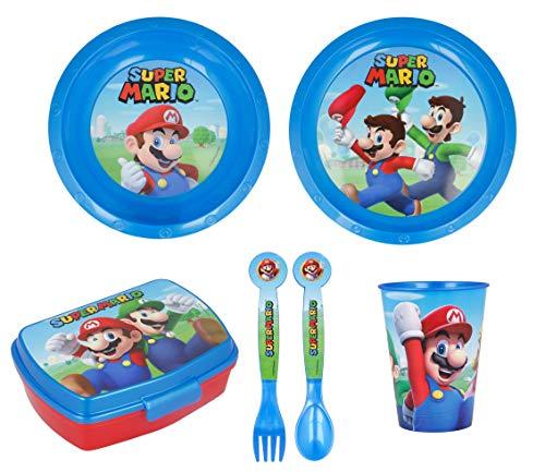 Vajilla infantil de 6 piezas de Super Mario para niños y niñas. Contiene plato, vaso, tenedor, cuchillo, cuenco y sandwichera (Super Mario - 6pcs)