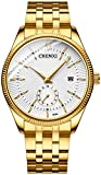 Fanmis Men's Luxury Analog Quartz Gold Wrist Watches Business Stainless Steel Band Dress Wrist Watch Classic Calendar Date Window 3ATM Water Resistant (White)