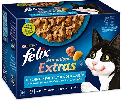 FELIX Katzennassfutter Sensations Extra Geschmacksvielfalt aus dem Wasser, 6er Pack (6 x 12 x 85g)