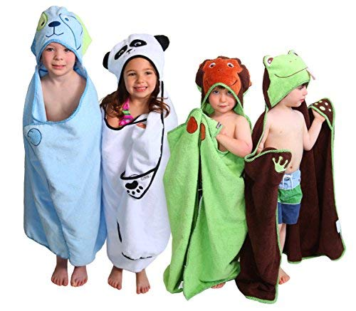 Hooded Towel, Blue Dog with Paws and Tail for Toddlers and Children, Extra Soft and Large, for use at Bath, Pool, and Beach. Designed by Frenchie Mini...