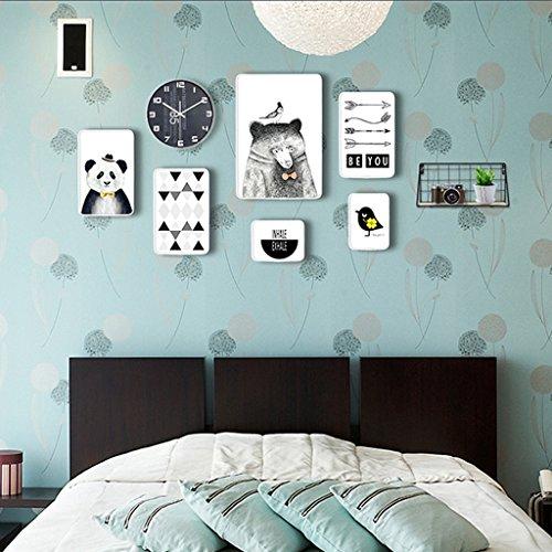 WORLD Ensemble de Cadres de Photos, 12 Ensemble de Cadres de Tableaux Collage, Combinaison créative avec Horloge Murale et Cadres de Fer F