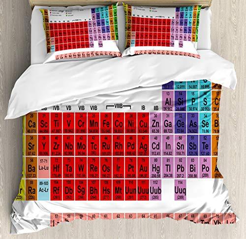Juego de funda nórdica de mesa periódica, niños, niños, educación, ciencia, química, para estudiantes de escuela, maestros, arte, juego de cama decorativo de 3 piezas con 2 fundas de almohada, blanco