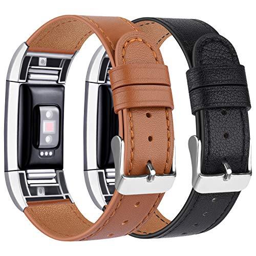 Tobfit Kompatibel für Fitbit Charge 2 Armband, Klassische Echtleder-Armband-Metallverbinder für Fitbit Charge 2 (Kein Uhr) (05 Schwarz/Braun, 5.5