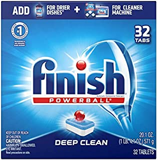Finish All in 1 Powerball Fresh,deep clean,32ct, Dishwasher Detergent Tablets