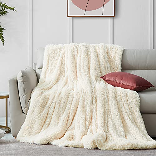 Hansleep Faux Fur Throw Blanket - Super Soft Fluffy Comfort Warm Thick Luxury Plush Luxury Sherpa Blanket for Sofa, Bed, Couch or Living Room - Fall & Winter Accessories 220x240 cm, Beige