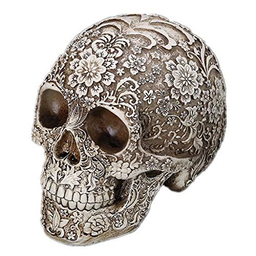 LQY Estatua del Cráneo De Halloween, Calavera De Resina Calavera Tallada, Modelo De Calavera Humana Bar Café Decoración